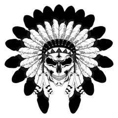 Indian skull in a crown of feathers. Vector image on white background.