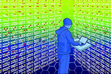 Programador en un centro de datos