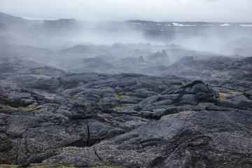 Steaming lava field Krafla volcanic area Myvatn region Northeastern Iceland Scandinavia Wall mural
