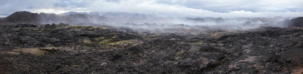 Steaming lava field panorama Krafla volcanic area Myvatn region Northeastern Iceland Scandinavia
