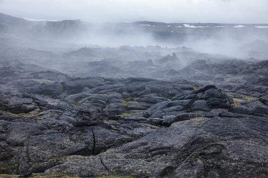 Steaming lava field Krafla volcanic area Myvatn region Northeastern Iceland Scandinavia