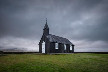 Church Budir in Budahraun lava fields on south coast of Snæfellsnes peninsula at western Iceland