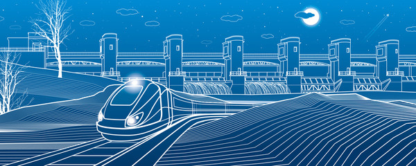 Urban life. Train goes along the lake bank. Hydro power plant at background. River Dam, energy station, water power. Vector design art