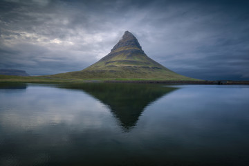 Famous Kirkjufell mountain on north coast of Snaefellsnes peninsula in Iceland