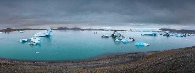 Iceland landscape panorama of Jokulsarlon glacier lagoon
