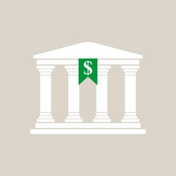 Bank in greek style in flat style
