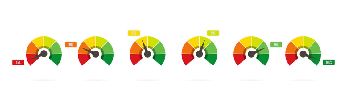 Scale from red to green with arrow in flat style, infographic element