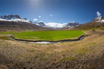 Mountains around pastures in idyllic Eastern Iceland
