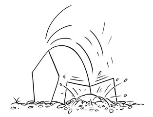 Cartoon stick figure drawing conceptual illustration of man or businessman hiding head in sand or under ground.