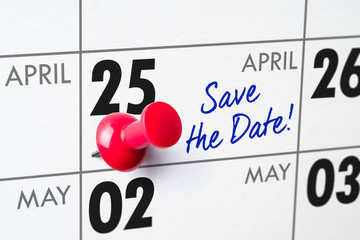 Wall calendar with a red pin - April 25
