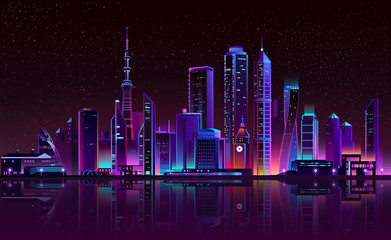 Vector modern megapolis on river at night. Bright glowing clock tower, shining chapel in cartoon style. Urban skyscrapers in neon colors, town exterior, architecture background.