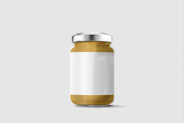 Glass jar of peanut butter with blank label over soft background. Mock up. 3D rendering.