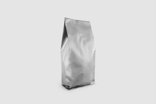 Realistic Coffee Bag  mockup isolated on white background. Front and side view. Easy to use for your design, presentation. 3D rendering.
