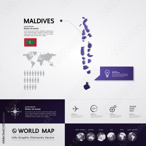 Maldives map vector illustration\