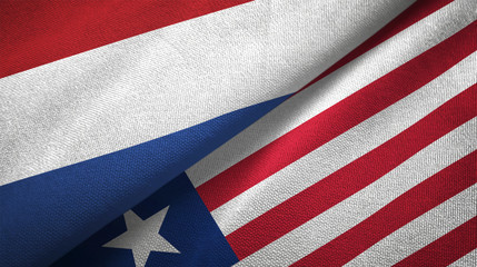 Netherlands and Liberia two flags textile cloth, fabric texture