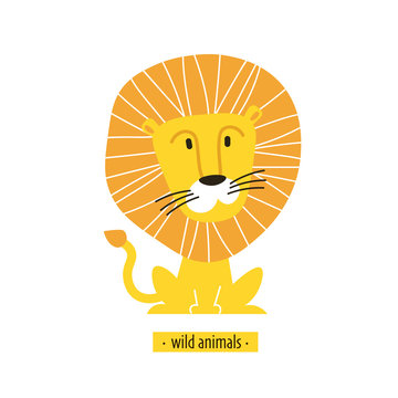 Cute vector lion. Perfect for wallpaper, cards, stickers, poster, print, packaging, invitations, Baby shower, patterns, travel, logos etc