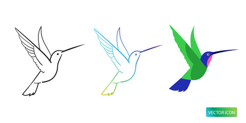 Hummingbird Icons Or Logo Design Vector Images On White Background. Hummingbird Line Logo Icons. Isolated Hummingbird Line Sketch Vector Image.