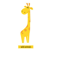 Cute vector giraffe. Perfect for wallpaper, cards, stickers, poster, print, packaging, invitations, Baby shower, patterns, travel, logos etc