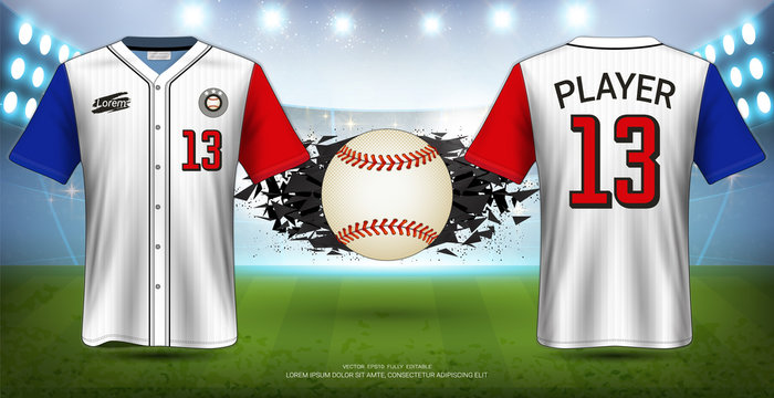 Baseball Uniforms & Jerseys, Short Sleeve Shirt Mockup, Design for Sport Poster, Banner, Flyer, Brochure or Presentations Template, Vector EPS10 fully editable, Easy Possibility to Apply Your Artwork.