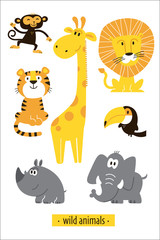 Animals vector set. Cartoon Monkey, giraffe, lion, hippo, elephant, tiger, toucan pirate. Perfect for wallpaper,print,packaging,invitations,Baby shower,birthday party,patterns,travel,logos etc
