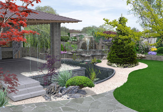 Arrangement patio living space, 3D rendering