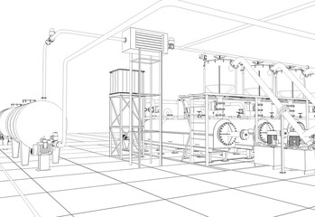 oil refinery, chemical production, waste processing plant, contour visualization, 3D illustration, sketch, outline