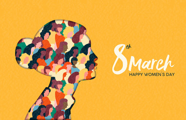 Womens Day 8th march  woman head paper cut card