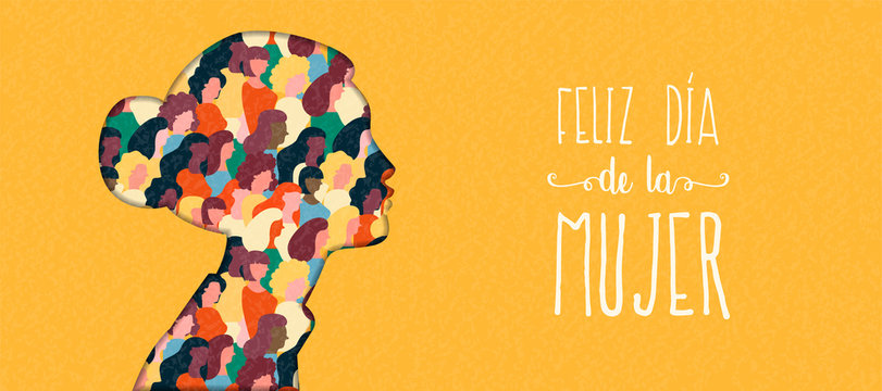 Happy Womens Day woman head card in spanish