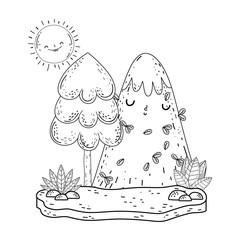 mountain snow and sun kawaii characters