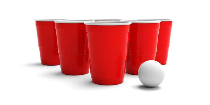 Plastic red color cups and a ping pong ball isolated on white background. 3d illustration