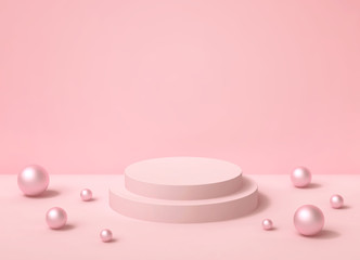 Pastel pink background with round podium and pearls