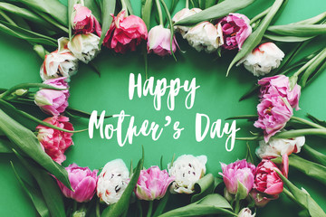 Happy Mother's Day text sign on beautiful double peony tulips frame flat lay on green paper. Stylish floral greeting card. Thank you,mom