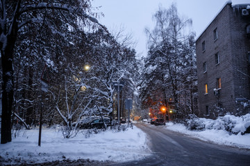 Protvino, Moscow region, Russia, January 6, 2019 - winter evening in Protvino, Russia