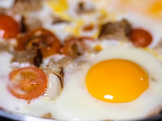 The image of fried eggs close up
