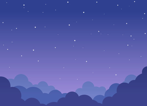 Night cloudy sky background with shining stars
