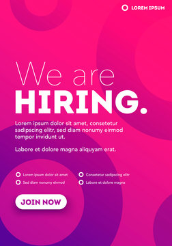 We are Hiring, Join Our Team, Poster or Banner Design. Job Vacancy Advertisement Concept.