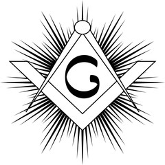 Masonic symbol of square and compass,  with rays and G letter