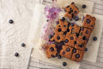 Blueberry square bars on baking sheet