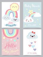 Colorful hand drawn cute card with rainbow,heart,cloud,sun and rain.Rainbow make me happy