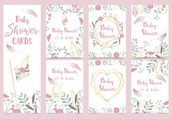 Geometry pink gold baby shower invitation card with rose,leaf,dreamcatcher,wreath,heart and feather