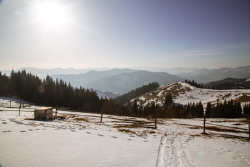 spring is near, but winter does not given up in the mountains