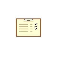 Checklist on a hard folder with a holder. Vector illustration
