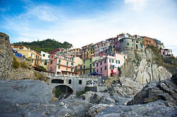 Fototapeta Italia kolorowe uliczki cinque terre stare miasto obraz