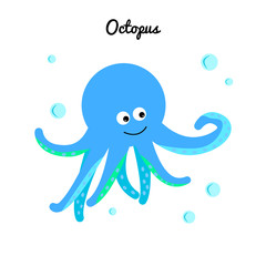 Cute blue octopus with bubbles water. Cartoon marine character. Ocean illustration