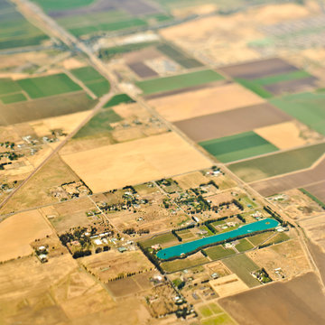 Aerial View of a Lake in an Agricultural Community