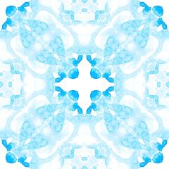 Blue seamless pattern. Artistic delicate soap bubb