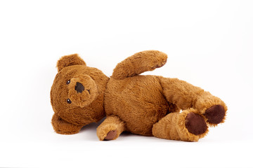 soft toy bear on white background