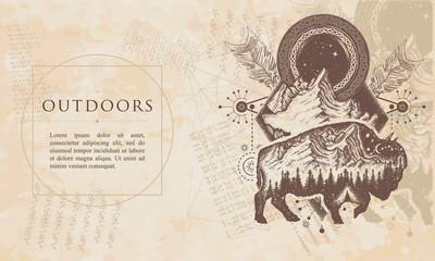 Outdoors. Bison and mountains. Renaissance background. Medieval manuscript, engraving art
