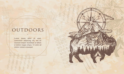 Outdoors. Bison double exposure, mountains and compass. Renaissance background. Medieval manuscript, engraving art