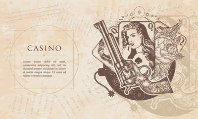 Casino. Revolver, playing cards, beautiful girl, bomb. Renaissance background. Medieval manuscript, engraving art